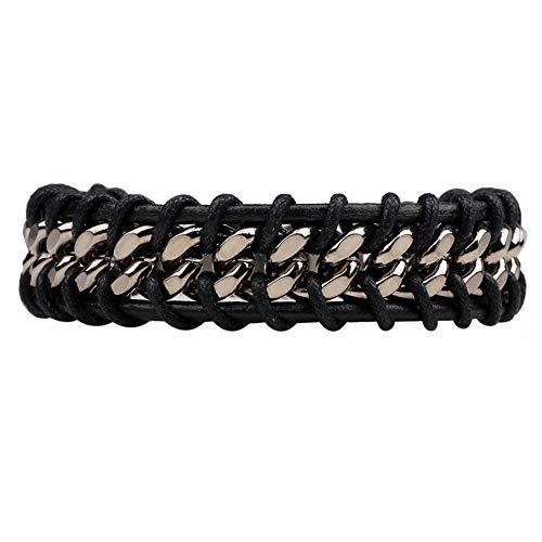XQxiqi689sy Bracelet Bangle Handmade Men - Pulsera de piel sintética trenzada para moto, pulsera Circlet negro