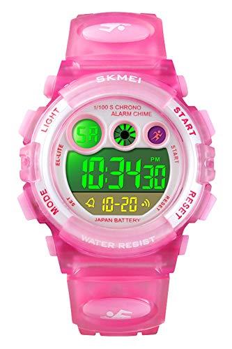 Kinderuhr Mädchen Junge Kinder Uhren für Jungen Digital 5 ATM Wasserdicht Elektronische Armbanduhr mit Wecker Stoppuhr EL Licht