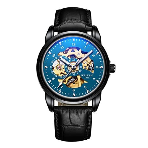 GDHJ Reloj de hombre Mecánico Movimiento hueco Cronógrafo Acero inoxidable Impermeable Luminoso Relojes Moda Negocio Azul Reloj de pulsera Correa de cuero