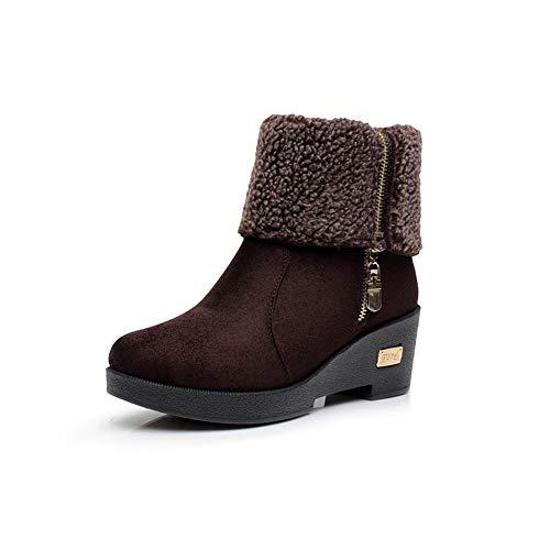 YIWU Herbst und Winter Schuhe Frauen Stiefel Baumwolle Schuhe Schneeschuhe Stiefel Verdickung Keile Stiefel wasserdichte Plattform Dicke Damenschuhe (Farbe : Brown, Size : EU39/UK6/CN39)