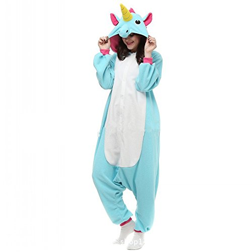 misslight Unicornio Pijamas Animal Ropa de Dormir Cosplay Disfraces Pijamas para Adulto Niños Juguetes y Juegos (S, Blue)