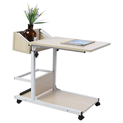 Greensen Laptop Desk with Storage Adjustable Height 50-80cm Overbed Table Sofa Side Tables with Non-slip Barrier Rails U-Shaped Multifunctional Computer Table for Bed Reading Eating(White)