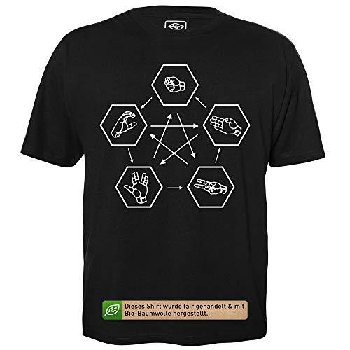 Stein Schere Papier Spock Echse - Herren T-Shirt für Geeks mit Spruch Motiv aus Bio-Baumwolle Kurzarm Rundhals Ausschnitt, Größe L