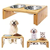KOOLTAIL Raised Pet Bowls Elevated Feeder for Dogs Cats - Adjustable Bamboo Food and Water Bowls Stand Feeder, Available in 8.5 inches and 4.5 inches with 2 x Stainless Steel for Free
