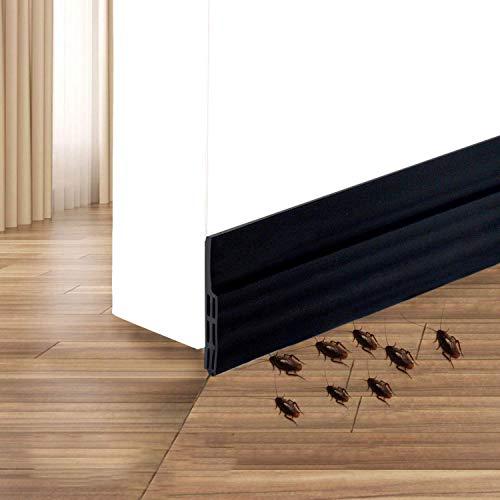 Burlete Puerta,HEQUN Burlete Bajo Puerta Burlete Autoadhesivo de Goma de Silicona, Antipolvo Aislamiento Acústico Prueba De Viento y Agua 100 x 5cm (negro)