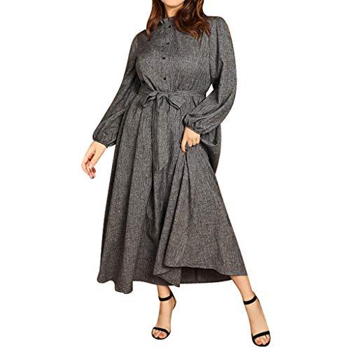 DQANIU Frauen Kleider, 2 StüCk Frauen Plus Size Sexy Verband Taste ReißVerschluss RüSchen Rollkragen Laterne HüLse Feste Party Kleider, Kleid GüRtel