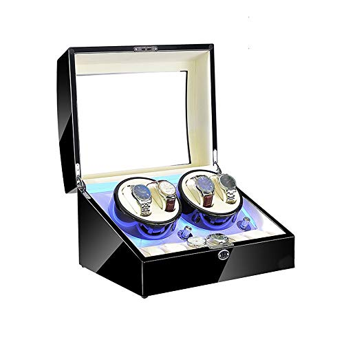Jlxl Caja de reloj para 4 relojes automáticos 6 almacenamiento, luz LED azul, configuración de modo de rotación, accesorios de madera de alto brillo negro