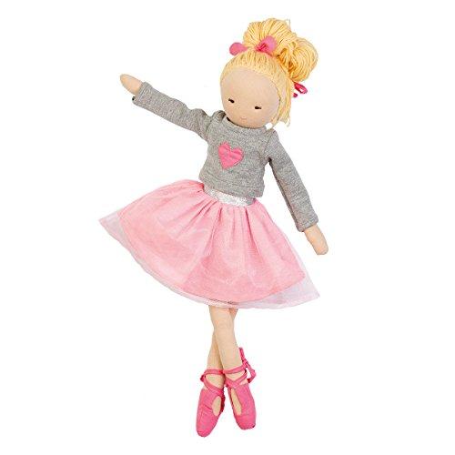 Hoppa Puppe Ballerina Olivia, Stoffpuppe mit Kleidung und Haaren, Kinderspeile ab 10 Monate - 30 cm