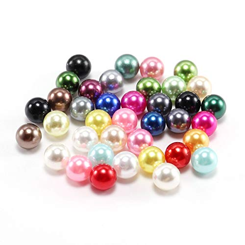 AGCFABS 3/4/5/6/8/10/12/14 mm NO Hole Pearls Loose Beads ABS Imitation Pearl Beads Plastic Acrylic Beads for Jewelry Making Accessories 20 Colors (Multicolor, 14mm50pcs)