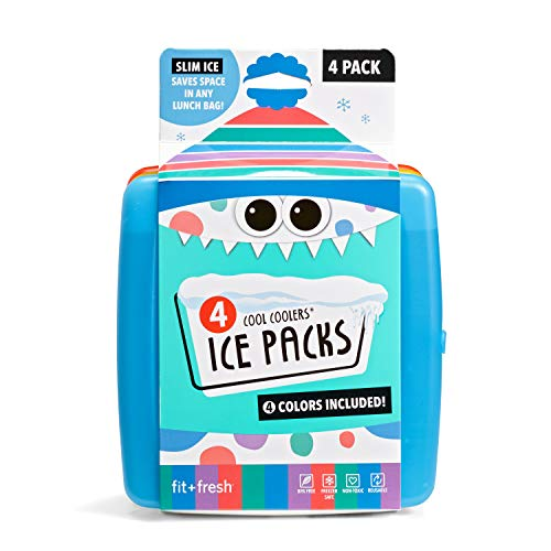 Fit + Fresh Cool Coolers Slim Ice Packs, Reusable Ice Packs for Lunch Bags,...
