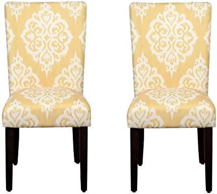Best HomePop Parsons Classic Upholstered Accent Dining Chair, Set of 2, Yellow Damask