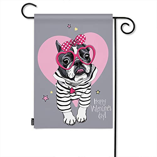 Moslion Dog Garden Flag Valentine's Day French Bulldog in Striped Cardigan with Pink Heart Glasses Polka Dot Home Flags 12x18 Inch Double-Sided Banner Welcome Yard Flag Outdoor Decor. Lawn Villa