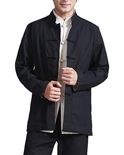 Hombres Chino Ropa Traje Tang - Wing Chun Shaolin Tai Chi Tradicional Disfraz Artes Marciales Kung Fu Manga Larga Chaqueta de Doble Cara Camisa Uniforme (Negro, XXL)