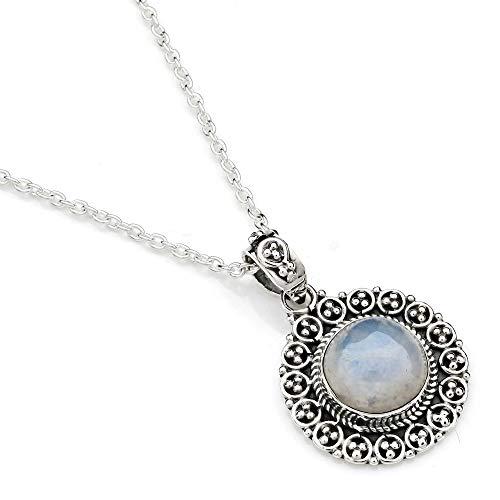 Kette mit Mondstein Halskette Kettenanhänger 925 Silber weiß blau (104-04 01), Kettenlänge:55 cm