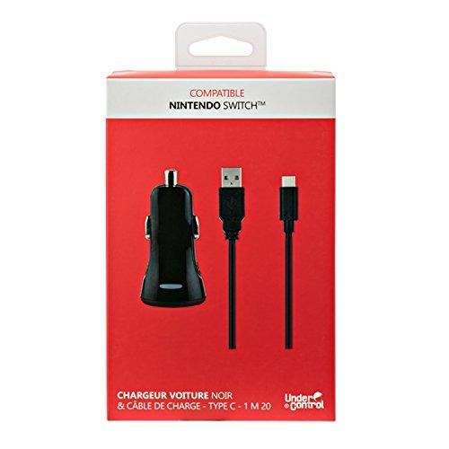 Chargeur de voiture 2,4 A + Câble de recharge USB Type-C 1,2 m pour Nintendo Switch