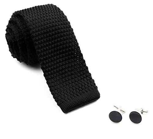Cravate tricot noire et ses boutons de manchette