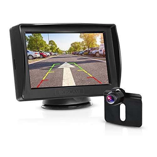 Boscam K3 Rückfahrkamera und Monitor Set Wired Rückfahrkamera mit Stabiler Signalübertragung, 14.4 cm/4.3-Zoll Zoll Rear View Monitor und IP68 wasserdichte Kamera für Auto, Bus, LKW, Schulbus, Anhänger