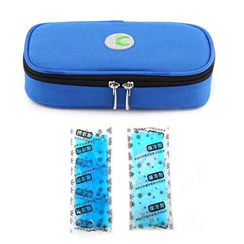 borsa termica medicinali Vianber Borsa termica portatile per insulina Borsa termica per assistenza medica Custodia protettiva da viaggio con Confezioni di ghiaccio per il diabetico (Blu + 2 impacchi di ghiaccio)