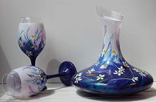 Handbemalte Weingläser mit Karaffe - Blumen