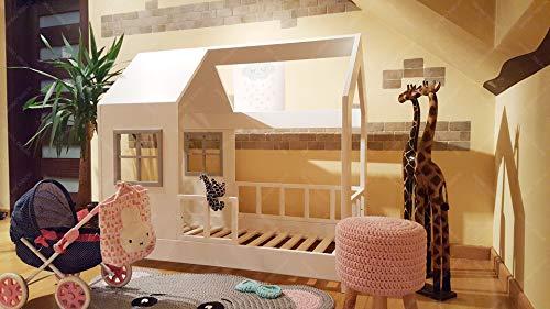 Oliveo Letto/casetta per Bambini, Letto per Bambini, Letto con casetta e Barriere (190 x 90 cm, Dipinto)