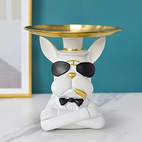 YXCKG Cuenco Dominante Animal,Bandeja Decorativa Figuras Bulldog Vaciabolsillos del Organizador del Ornamento De La Joyería Bandeja De Oro,decoración,Adorno, (Color : White)