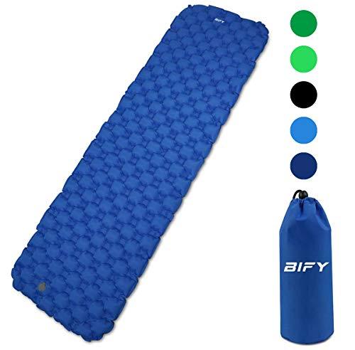 BIFY Isomatte Camping Schlafmatte Ultraleicht Kleines Packmaß. Aufblasbare Luftmatratze für Outdoor Camping, Reise,Trekking und Backpacking (Dunkelblau)