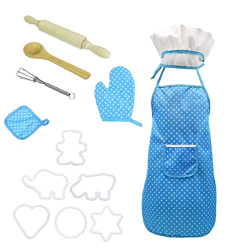 Chef Set for Kids Kitchen Role Play Cook Costume Blue with Apron Chef Hat Utensils Cooking Mitt(Blue)