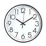 JUSTUP 8in Non-Ticking Wall Clock, Silent Battery Operated Wall Clock with ABS Frame HD Glass Cover for Kids Living Room Bedroom Kitchen School Office Decor (8 in)