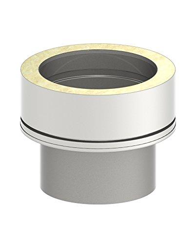 Schornstein Übergangselemet von einwandig EW (0,6mm - 1,0mm Wandstärke) auf doppelwandig DW (25mm Isolierung); Ø 130mm Innendurchmesser, Edelstahl