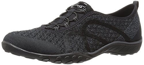 Skechers Breathe-Easy-Fortuneknit, Zapatillas sin Cordones Mujer, Negro (BLK Black Mesh/Charcoal Trim), 38 EU