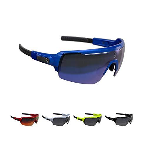 BBB Cycling - Gafas de ciclismo para hombre y mujer, con tres lentes intercambiables, policarbonato, bicicleta de carretera MTB Urban | azul metálico | BSG-61