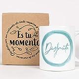 Taza Desayuno con Mensaje Disfruta_ Regalos Originales para Mujer_ Taza café Infusiones o Decoración Hogar en Cerámica de Alta Calidad.