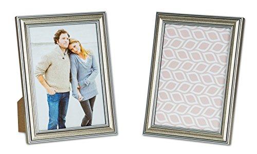 levandeo 2er Set Bilderrahmen 13x18cm Fotorahmen Silber Antik Portraitrahmen Glasscheibe Wanddeko Tischdeko