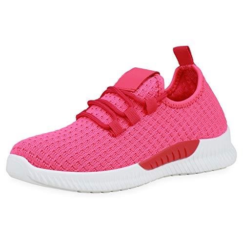 SCARPE VITA Damen Laufschuhe Strick Sportschuhe Ftiness Sneaker Stoff Schuhe Schnürer Gym Training Joggingschuhe 190614 Neon Pink Weiss 38