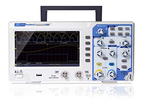 PeakTech P 1336 50 MHz 2-Kanal Digital-Speicher-Oszilloskop mit USB-Schnittstelle, 15 W, 240 V
