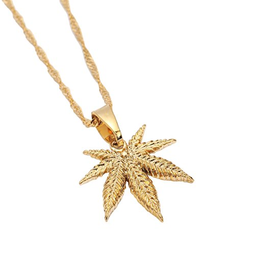 24K Yellow Gold Color Jewelry Cannabis Weed Marijuana Leaf Pendant Necklace