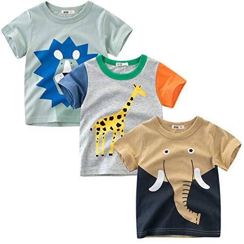 LAUSONS Kinder 3er-Pack T-Shirt Kurzarm Shirt Rundem Ausschnitt Oberteile Cartoon Tiere 110/Etikett 110