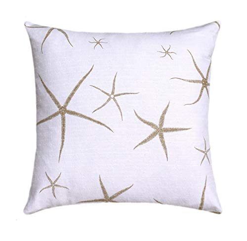 Flowershave357 Starfish Decorative Throw Nautical Seastar Throw Pillow Cover Starfish Pillow Beach Pillow Tan White Pillow Accent Pillow