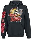 Tom und Jerry Cartoon Logo Hombre Sudadera con Capucha Negro XXL, 80% algodón, 20% poliéster, Regular