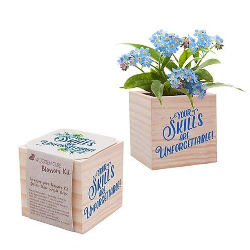 Desk Accessory for The Office - Blue Forget-Me-Not Plant Seed Packet, Peat Pellet, and Natural Pine Wooden 3x3 inch Cube Planter - Employee Appreciation Gift -
