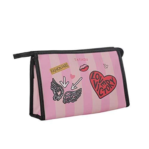 Wesbe Kosmetiktasche für Tintenstrahldrucker, PU, wasserdicht, Rot, hellrosa (Pink) - QUPJCTI7US