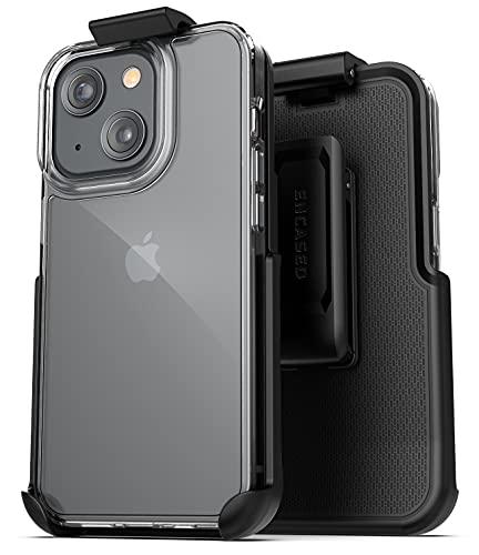 Encased Belt Case Designed for iPhone 13 (2021) Clear-Back Transparent Phone Cover with Clip Holster