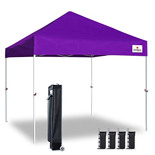 Keymaya 10x10 Ez Pop Up Canopy Tent Commercial Instant Shelter Canopies with Heavy Duty Roller Bag,Bonus 4 Canopy Sand Bags (Purple)