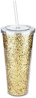 Blush 4840 Insulated Wine Tumbler With Straw Double-Walled Glitter Bottle Holder, Gold