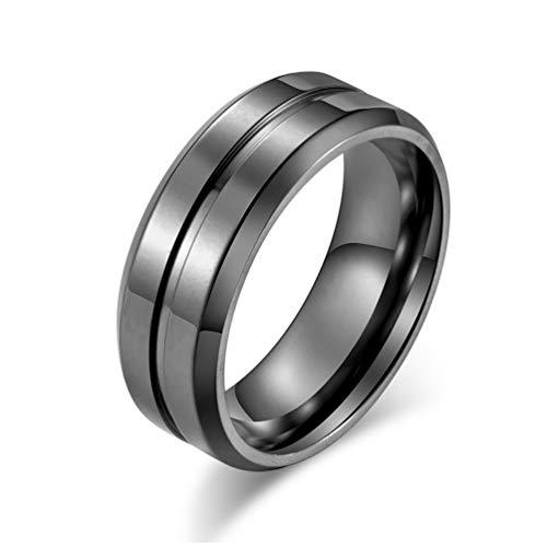Excow Jewelry - Anillo de Boda para Hombre, Acero de Titanio, 8 mm, Oro Negro, Plata