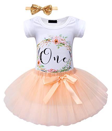 Jurebecia Tutu Vestido Bebé Niñas Es mi Primer cumpleaños Trajes Conjuntos Princesa Vestido Tutu 3 Piezas Floral Mameluco + Falda + Diadema