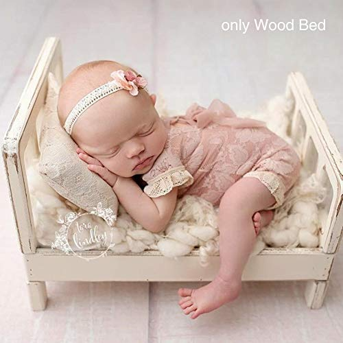 Newborn Props Photography Cot Baby Photo Small Wooden Bed Posing Baby Photography Props Cot Baby Photo Studio Props for Photo Home Accessories (White)