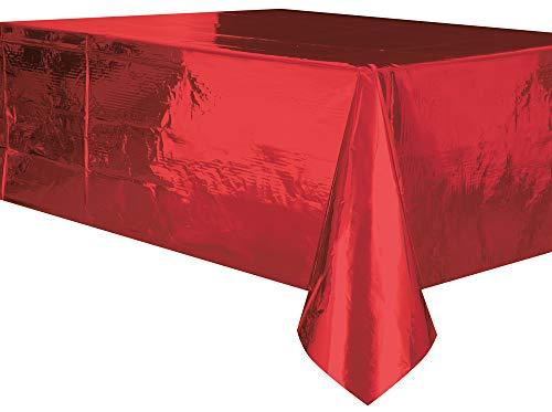 Uniek feest. Plastic tafelkleed. 9 x 4.5 ft rood
