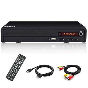 Reproductor de DVD Compacto, Reproductores de CD/DVD / MP3, Puerto HDMI y Cable de Audio RCA para conectar el televisor, múltiples regiones, Puerto USB, Control Remoto (no se admite el Disco BLU-Ray)
