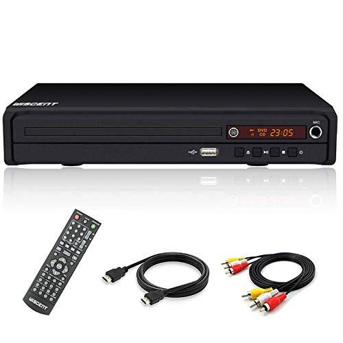 Reproductor de DVD (Full HD, HDMI, USB, Multi Region) Compatible con DIVX, JPEG y MP3, con HDMI/AV/USB/Mic (Non blueray)